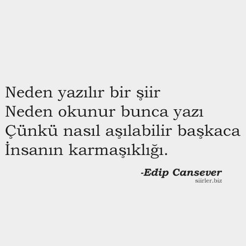 Edip Cansever - Neden yazılır bir şiir