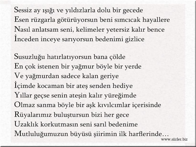 seni seviyorum akrostiş şiir